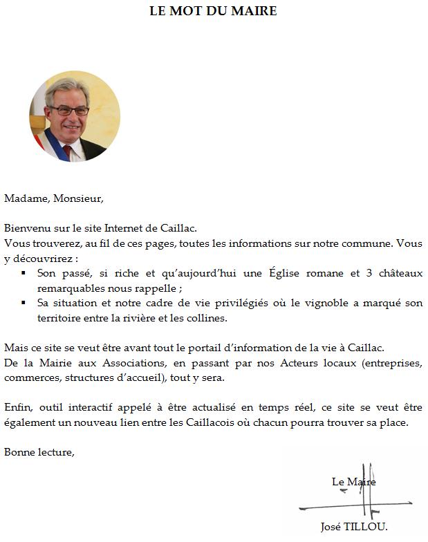 Commune de Caillac : Le Mot du Maire